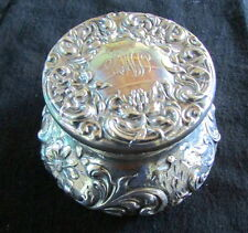LARGE ANTIQUE STERLING MAUSER FLORAL REPOUSSE COVERED DRESSER BOX JAR EX-COND.