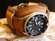 Big Bund Strap 22mm for a 44 - 55 mm Watch Leather Handmade Light Brown Band