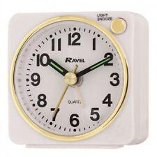 Ravel Quartz Mini Travel Alarm Clock with Light & Snooze White