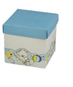 20 PZ Scatola per Bomboniera Battesimo Nascita Fondo coperchio 10x10x10 cm box9