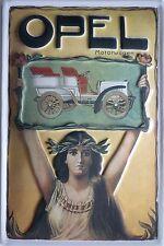 Opel Motorwagen Blech Schild 20x30cm Reklame Automobile Auto Werbung Coupé Car