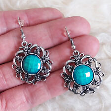 r Blue Bead Hook Earrings Vintage Womens Small Flower Antique-Silver-Metal-Colo