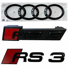 Original Audi RS3 Black Edition PAKET Schwarz Emblem Kühlergrill + Heck + Ringe