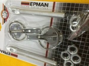 Slide bonnet and panel pins aluminium alloy polished hood lock