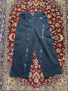 Vintage JNCO Jeans Navy Blue Cargo Rave Baggy Pants Hip Hop Mens Size 34 30