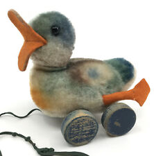Steiff Pull Toy Play Duck Colorful Mohair Plush Eccentric Wood Wheels 11cm 1950s