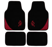 4Pcs Universal Carpet Car Floor Mats Front & Rear Black Red for Honda Hyundai