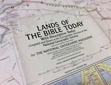 Large Vintage Map 'The Lands Of The Bible Today' - National Geographic 1967