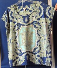 Pretty CHICO'S Print TOP Blues PAISLEY Scoop Neckline CAP Sleeves Sz 3 No Return