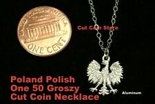 Poland CutCoin TINY PETITE SMALL Polish Eagle (DROBNA MAŁYCH) Pendant Necklace