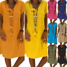 Plus Size Women Cotton Linen Loose Tunic Dress Summer Beach Baggy Kaftan Dresses
