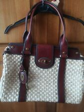 Fossil large Wicker Bag Brown Leather Trim
