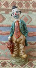 Vintage Ceramic Circus Clown with Umbrella