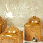 Wake up and Smell the Coffee Kitchen Wall Stickers, Cafe Decal, Vinyl Art kq17