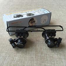 20X Watch Repair Dental Loupes Binocular With LED Lights Eyewear Magnifier