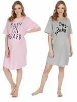 Womens Undercover Cotton Short Sleeve Maternity Nightshirt Nightie Pajamas PJs
