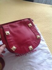 AUTH SEE BY CHLOE RED  CHERRY LEATHER GOLD TRIMMED CROSSBODY BAG
