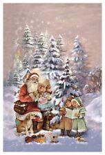 """Adventskalender Karte """"Weihnachtslieder"""" Nostalgie Weihnachtsmann Kuvert Glitzer"""