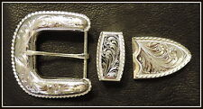 """1 1/2"""" Hand Engraved Western Silver Belt Buckle Set with Rope Edge"""