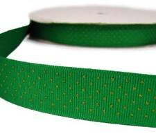 "5 Yds Green Gold Glitter Tiny Swiss Polka Dot Polkadot Grosgrain Ribbon 7/8""W"
