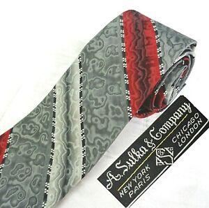 Vintage Sulka Gray Silk Tie Red Silver Stripe Moire Eames Mid-Century MCM Skinny
