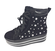 Womens Ladies Black Faux Suede Studded Hi Top Shoes Trainers Size UK 6 New
