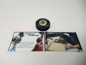 Troy Brouwer Chicago Blackhawks SIGNED Autographed puck SC CHAMPS W/ Photo proof