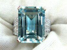Excellent Clean Clarity 28.30CT Aquamarine Gemstone Vivid 925 Solid Silver Ring
