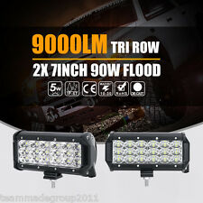"""2x 7Inch 90W Cree LED Light Bar Flood Beam Tri-Row Off road Fog 4WD SUV 6"""" 8"""""""