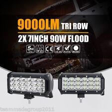 2X 7inch 90W Cree LED Work Light Bar Flood Tri-Row Offroad Driving 4WD Truck SUV