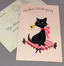 Vintage Greeting Card Get Well Flocked Black Kitty Cat Pink Rust Craft 60s retro
