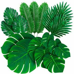 Palm Leaves Artificial Tropical Monstera - 84 Pcs 6 Kinds Large Small Green Fake
