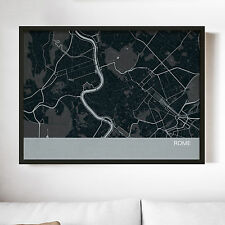City Street Map Print - Rome