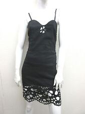 ROCHAS Made in France Linen Blend Little Black Cut Out Sexy Slip Dress Size 38