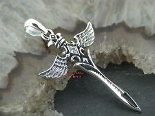 Gothic Silber Kettenanhänger KREUZ mit Flügel TRIBAL 925 Silber celtic Kristall