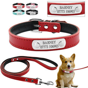 Leather Personalized Dog Collar & Leash Set Custom Free Engraving Name ID Tag