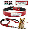 Leather Custom Dog Collar & Leash Set ID Tags Personalized Pet Collars Name Free