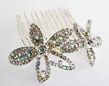 GORGOUES AB Diamante Hair Comb Slide Floral Design in Silver Tone 8 cms