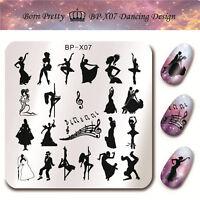 BORN PRETTY Nail Art Square Stamping Template Image Plate Dancing Girl BP-X07