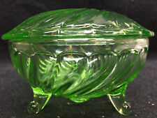 neon Green Vaseline glass powder jewelry box dresser ring holder uranium makeup