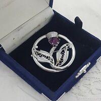 VINTAGE Scottish Thistle Brooch Purple Glass Stone Round Kilt Sash Pin Celtic