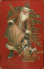 Christmas - Santa Claus Empties Sack of Gifts Brown Coat Gold Embossed PC