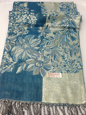 Teal Blue Jamawar Pashmina Shawl With Sparkly Glitter Thread Paisley & Floral