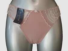 New Beige Elixir by Lejaby Melusine Thong France 3 USA M/6 INT 3 Embroidered