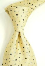 Paul Smith Beige Silk Neck Tie w/ Charcoal Brown & Silver Polka Dots England