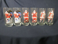 Set of 6 Coca Cola Christmas Drinking Glasses Sundblom Santa Claus