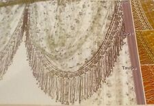"""French Country Irish Rose with Macrame-30"""" drop Scalloped Valance- Cream"""