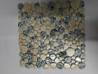 yellow and white round ceramic mosaic indoor or outdoor tiles pebble floral