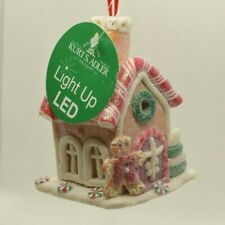 New ListingGingerbread House Led Christmas Tree Ornament Kurt S. Adler New (Red Vest & Bow)