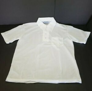 Vintage Premium Collection 70s Polyester Short Sleeve White Shirt Mens L Hipster
